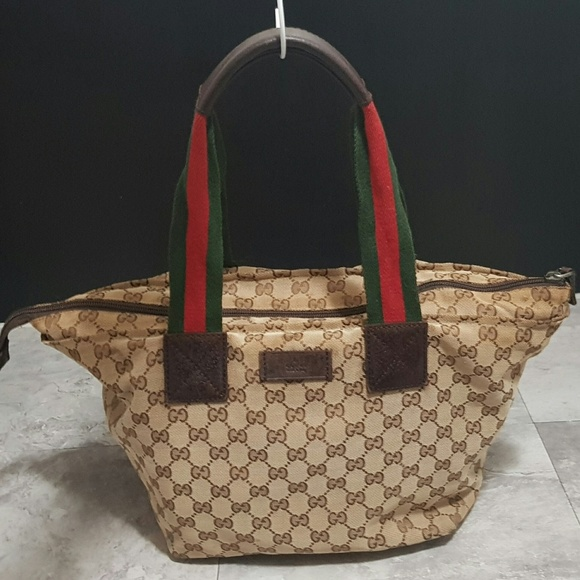 4b7d65dbe20d Gucci Handbags - 100% AUTH GUCCI BROWN TAN MONOGRAM CANVAS WEB TOTE